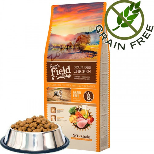 """Насипна храна за кучета от много висок клас Sam's Field Grain Free """"Пилешко"""" - 1 кг от чувал"""