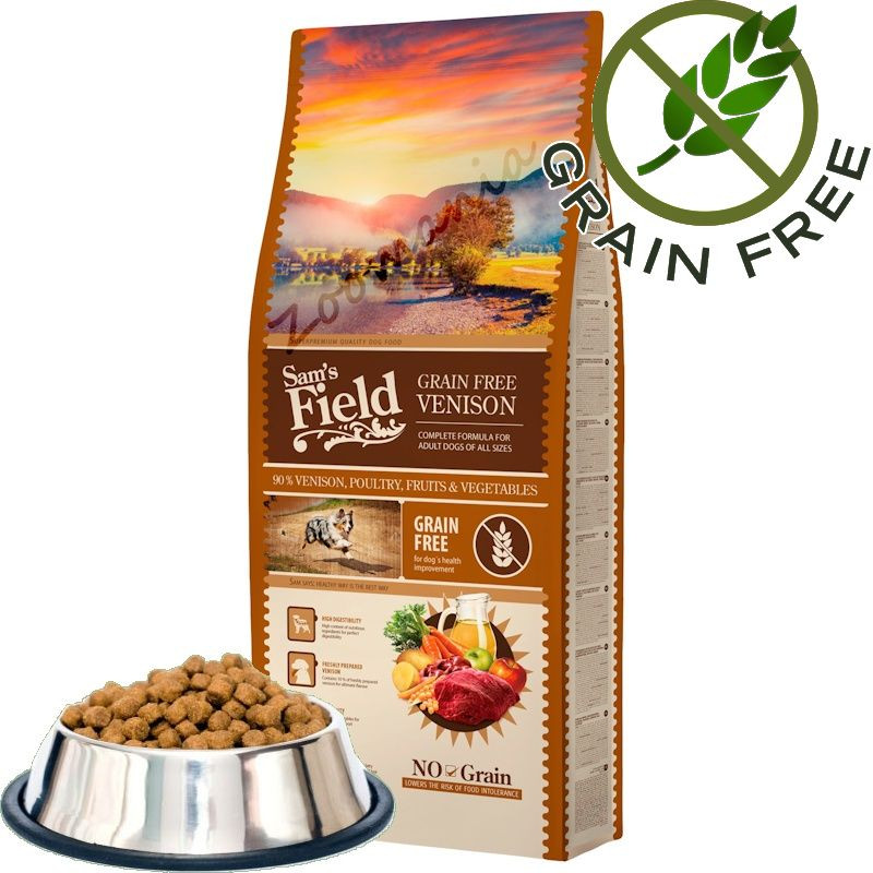 """Насипна храна за кучета от много висок клас Sam's Field Grain Free """"Еленско"""" - 100 гр от чувал"""