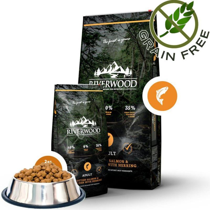 """Насипна храна за кучета с ултра премиум качество Riverwood """"Scottish Salmon & White Fish with Herring Adult"""" - 0.500 кг от чувал"""