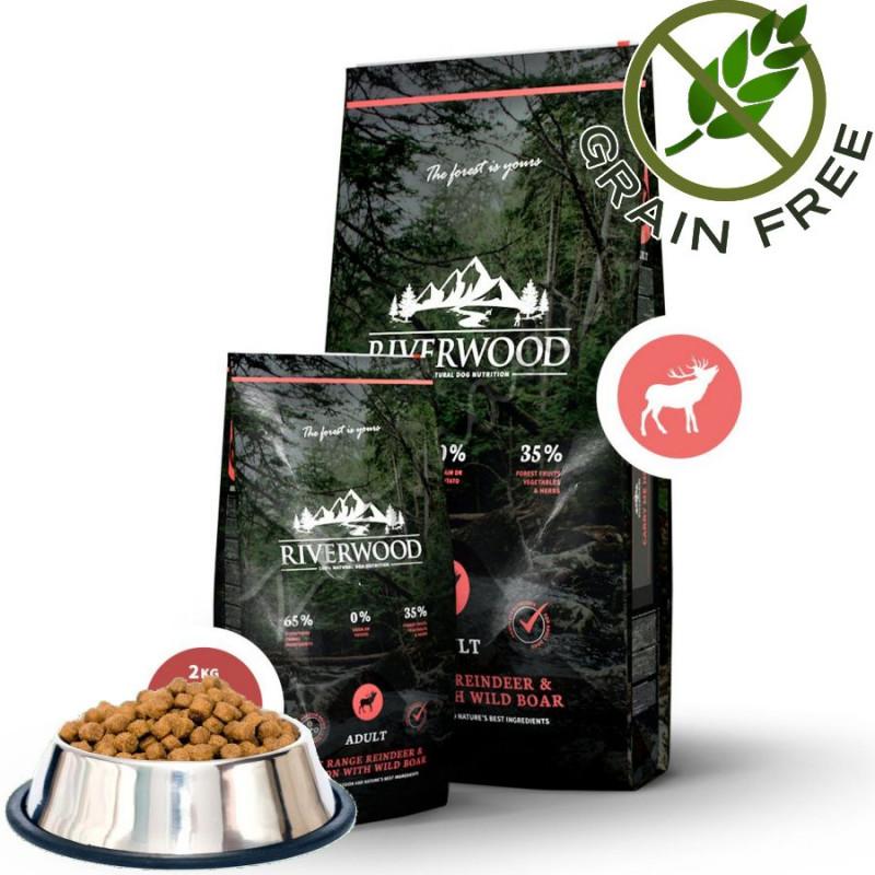 """Храна за кучета ултра премиум качество с еленско, сърнешко и глиган Riverwood """"Reindeer & Venison with Boar Adult"""" - 0.500 кг от"""