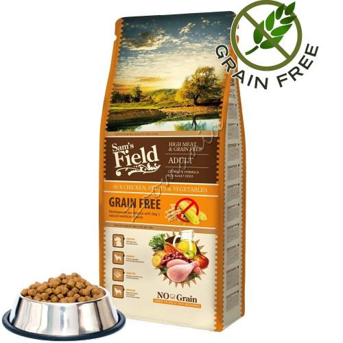 """Първокласна насипна grain free храна за кучета от всички породи Sam's Field """"Fresh High Meat & Grain Free Adult"""""""