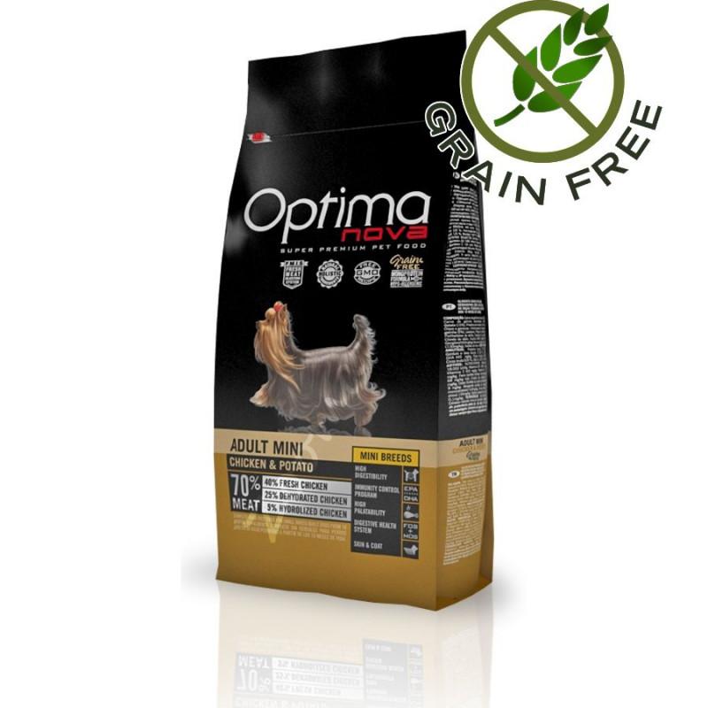Най-добрата храна за йорки - Optima Nova Dog Adult Mini Chicken & Potato - 2 кг
