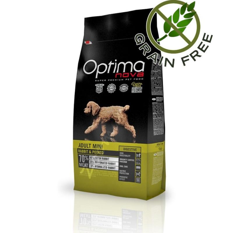 Храна за кучета без глутен - Optima Nova Dog Adult Mini Digestive Rabbit & Potato - 8 кг