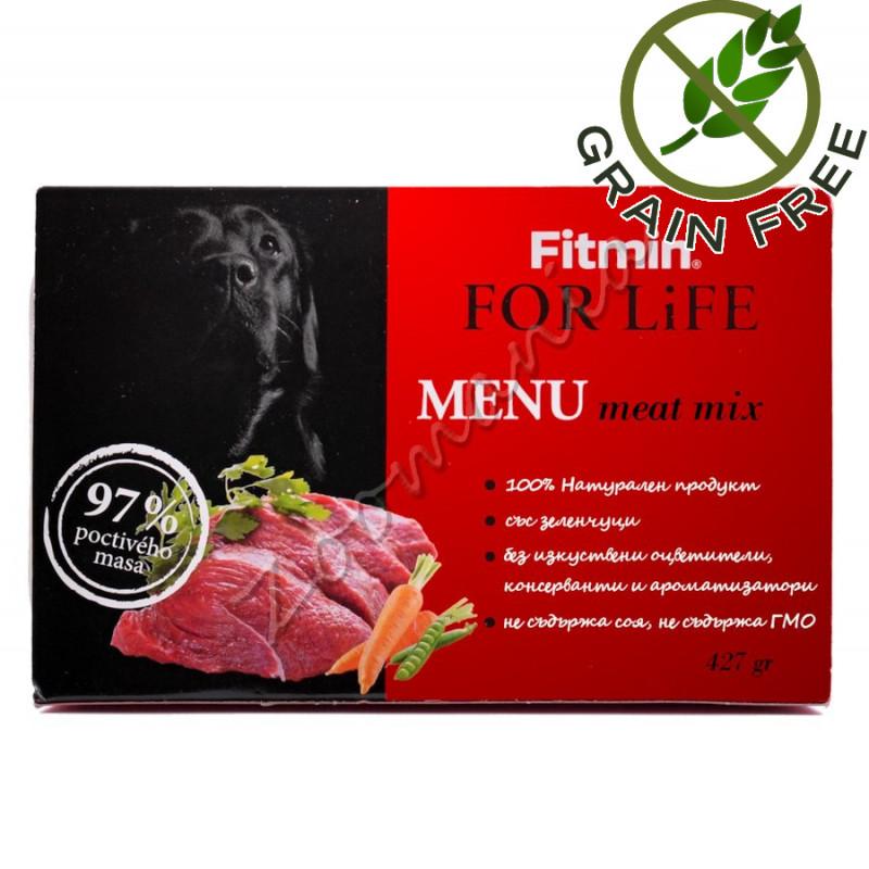 Пауч за кучета с 97% месо Fitmin Menu Meat Mix – 427 гр