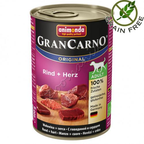 Храна за кучета със супер премиум качество Консерва GranCarno® Adult Original с Говеждо и сърца - 400 гр