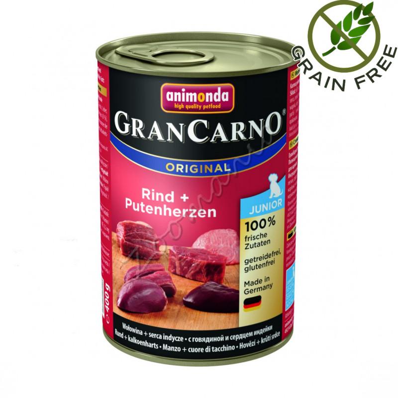 Храна за кученца със супер премиум качество Консерва GranCarno® Junior Говеждо с пуешки сърца - 400 гр