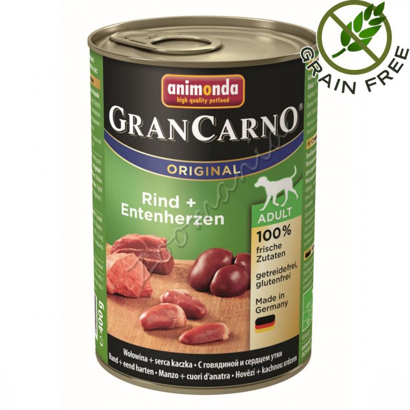Храна за кучета със супер премиум качество Консерва GranCarno® Adult Original с Говеждо и патешки сърца - 400 гр
