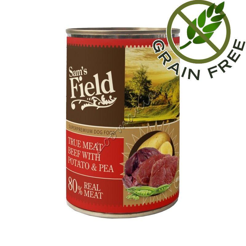 Супер качествена храна за кучета с говеждо и картофи - консерва True Meat Beef With Potato & Pea