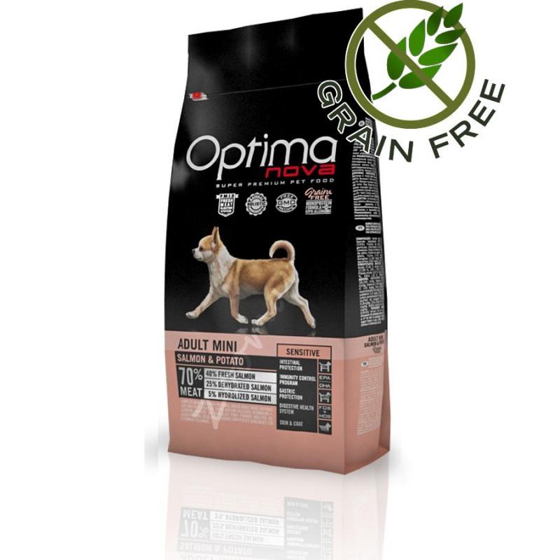 Първокачествена храна за кучета без глутен Optima Nova Dog Adult Mini Sensitive Salmon & Potato - 800 гр