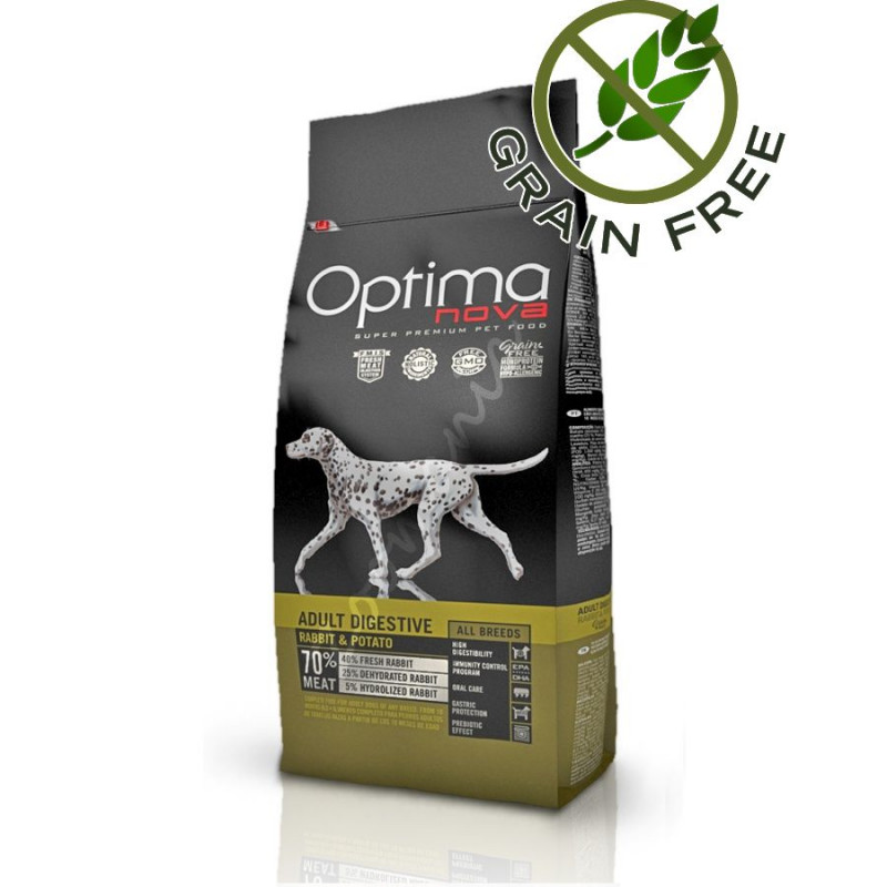 Хипоалергична храна за кучета без пилешко месо Optima Nova Dog Adult Digestive Rabbit & Potato