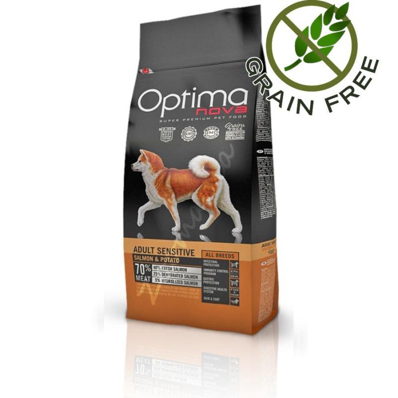 Диетична кучешка храна със сьомга Optima Nova Dog Adult Sensitive Salmon & Potato