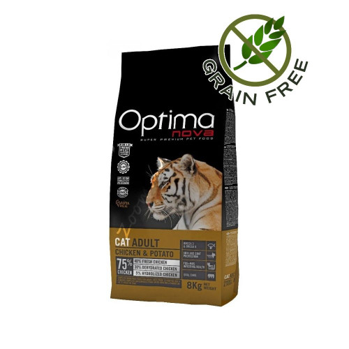 """Optima Nova """"Cat Adult Пиле с картофи"""" - 2 кг"""