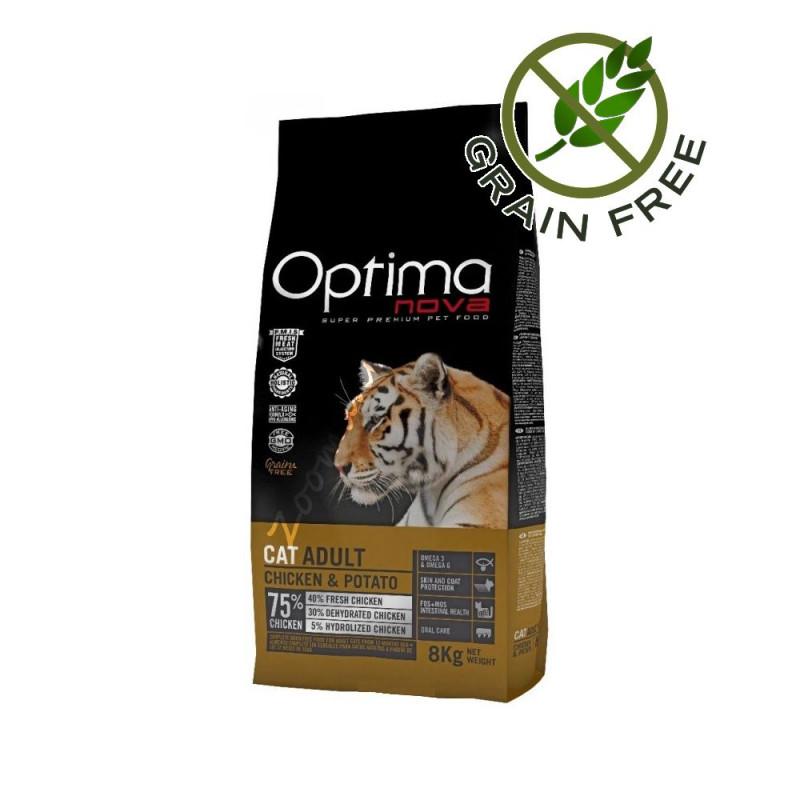 """Висококачествена Grain Free храна за котки без глутен - Optima Nova """"Cat Adult Пиле с картофи"""" - 2 кг"""