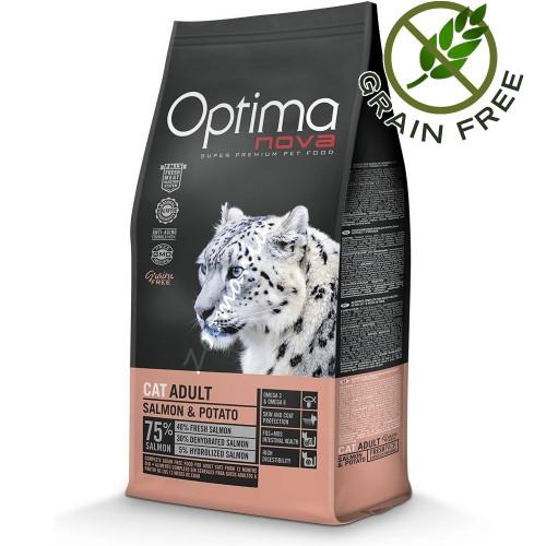 "Optima Nova ""Cat Adult Сьомга с картофи"" - 8 кг"