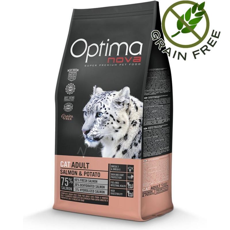 """Безглутенова храна за котки - Optima Nova """"Cat Adult Сьомга с картофи"""" - 8 кг"""
