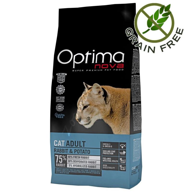 """Качествена Grain Free храна за котки - Optima Nova """"Cat Adult Заек с картофи"""" - 8 кг"""