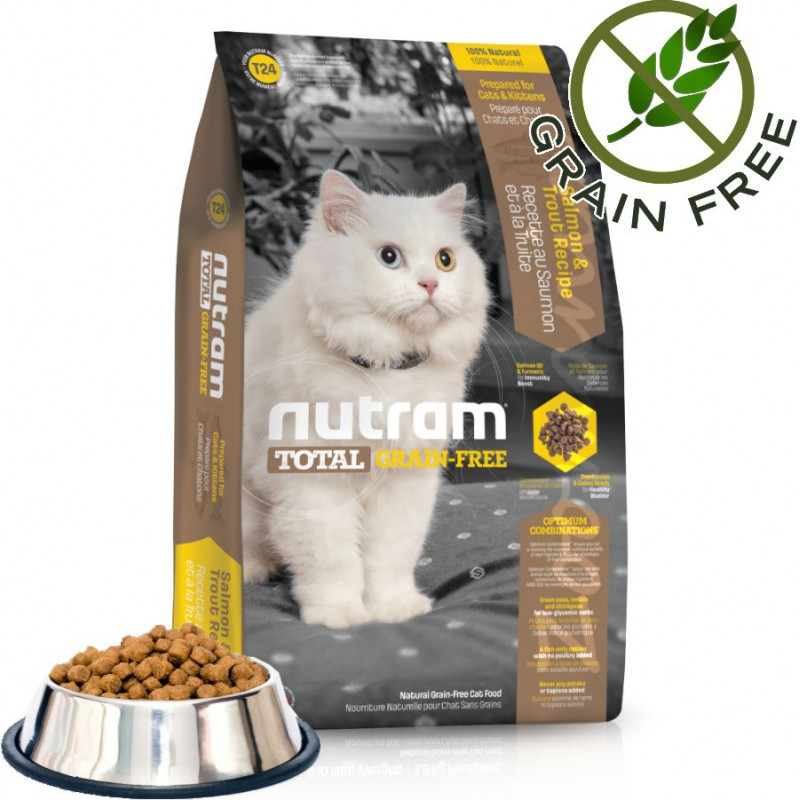 Хипоалергична храна за котки T24 Nutram Total Grain-Free® Trout and Salmon Meal Recipe Cat Food 1kg