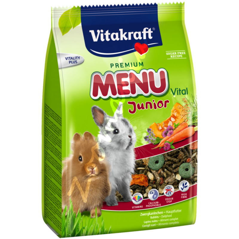 Качествена храна за малки декоративни зайчета от 3 седмична възраст Vitacraft Premium Menu Vital Junior