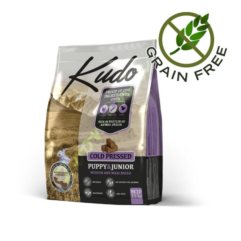 Качествена храна за кученца от средни и едри породи Kudo Maxi Puppy & Junior - 2.5 кг