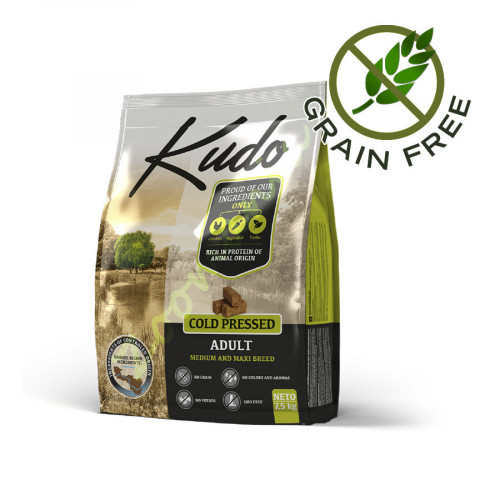 Grain Free храна за кучета от средни и едри породи Kudo Medium & Maxi Adult - 2.5 кг