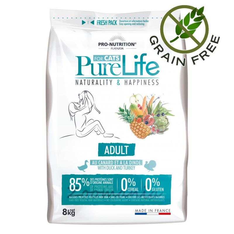 Качествена храна за зрели котки до 8 годишна възраст - Flatazor Pure Life Cat Adult - 8 кг
