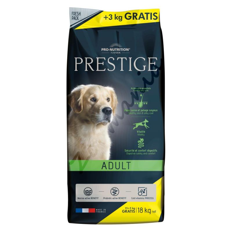 Качествена кучешка храна с пробиотици Prestige Adult - 15 кг + 3 кг гратис