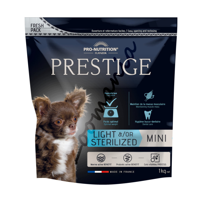 Диетична храна за кастрирани кучета от мини породи - Flatazor Prestige Mini Light &/Or Sterilized 1 кг
