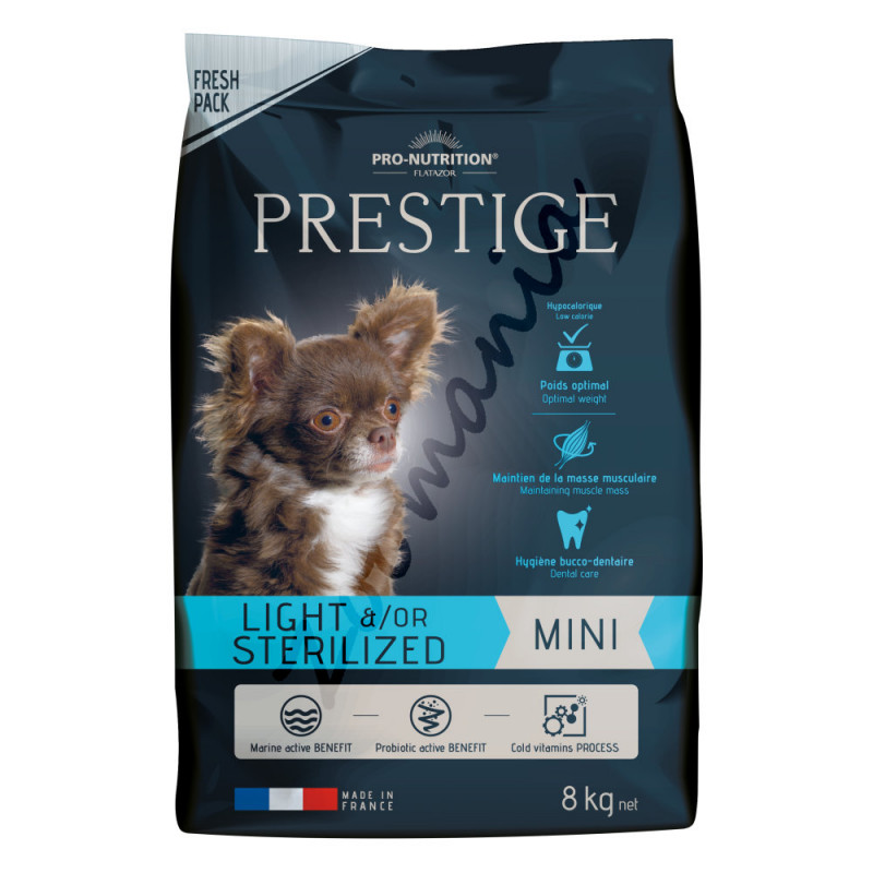 Диетична храна за кастрирани кучета от мини породи - Flatazor Prestige Mini Light &/Or Sterilized 8 кг