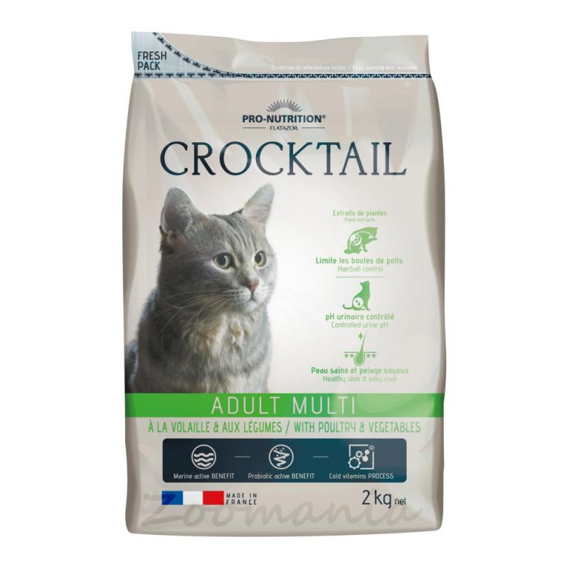 Качествена котешка храна с активни пробиотици - Flatazor Crocktail Adult Multi with Poultry & Vegetables - 2 кг