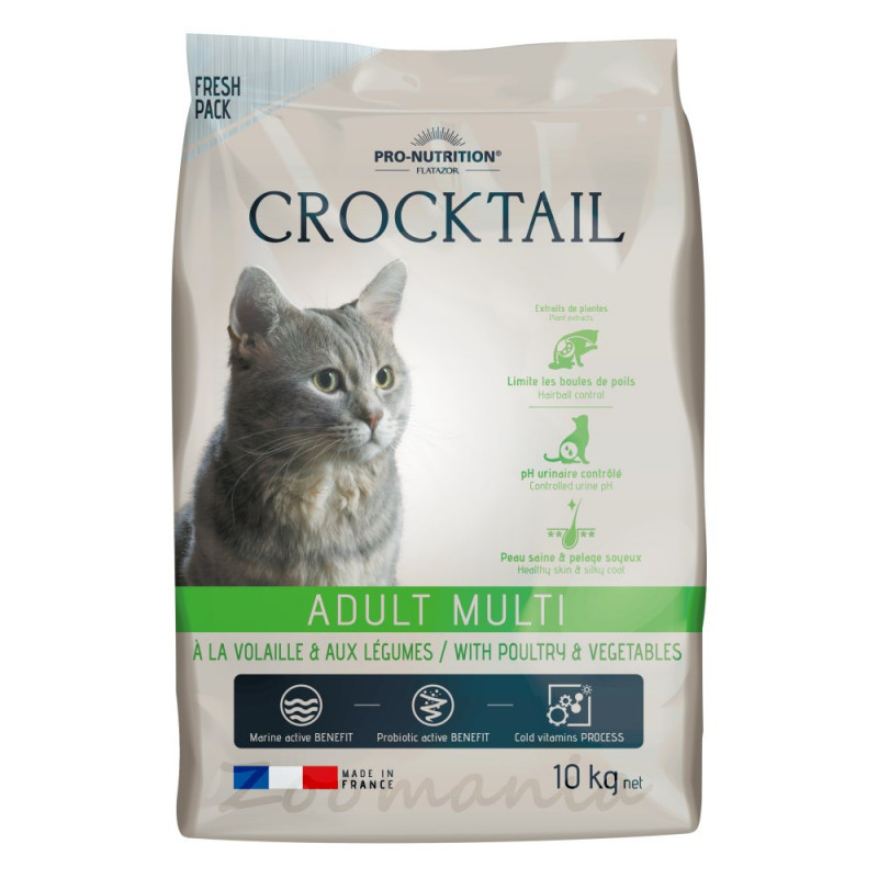 Качествена котешка храна с живи пробиотици - Flatazor Crocktail Adult Multi with Poultry & Vegetables - 10 кг