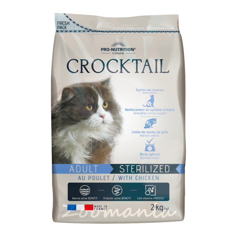 Супер премиум клас храна за котки с пробиотици - Flatazor Crocktail Adult Sterilized Chicken 2 кг