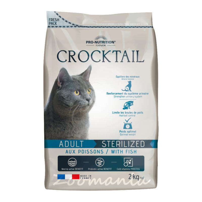 Качествена храна за котки с живи пробиотици и риба - Flatazor Crocktail Adult Sterilized Fish - 2 кг