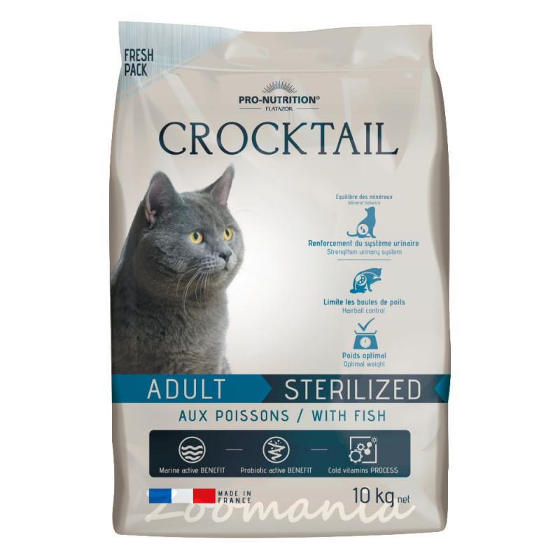 Котешка храна супер премуим клас с живи пробиотици и риба - Flatazor Crocktail Adult Sterilized Fish 10 кг