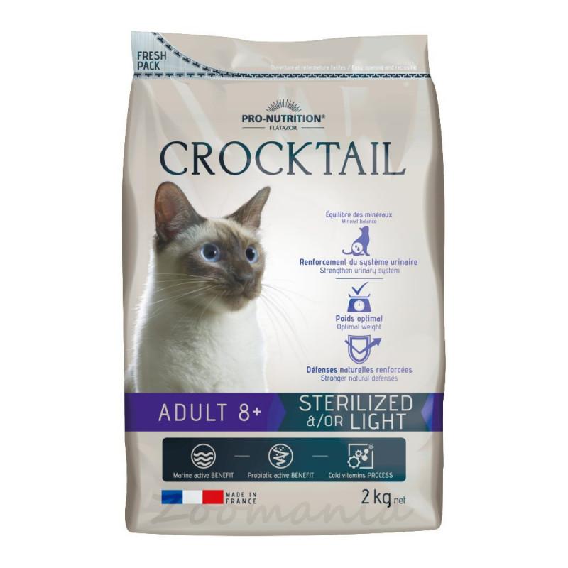 Качествена храна за възрастни котки с активни пробиотици - Flatazor Crocktail Adult 8+ Sterilized &/Or Light - 2 кг