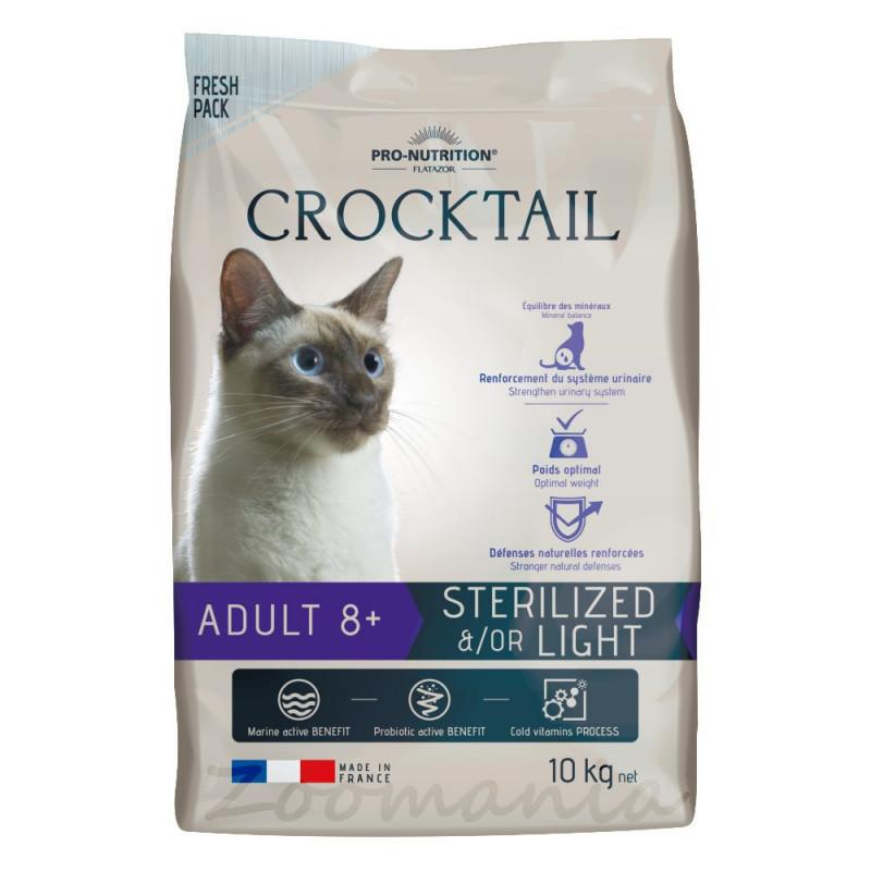 Качествена храна за възрастни котки с активни пробиотици - Flatazor Crocktail Adult 8+ Sterilized &/Or Light 10 кг