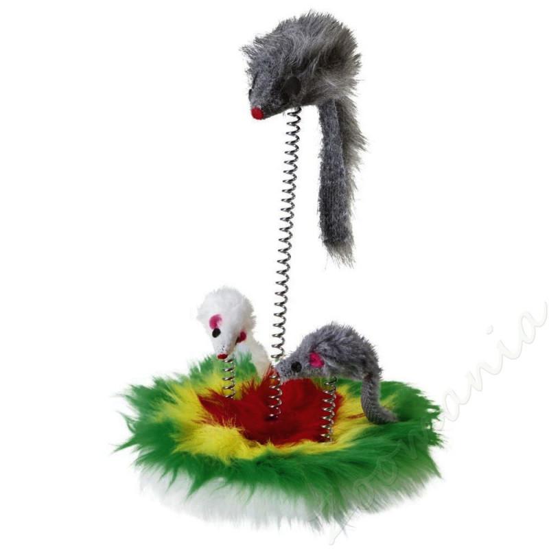 Котешка играчка с мишки на пружинка