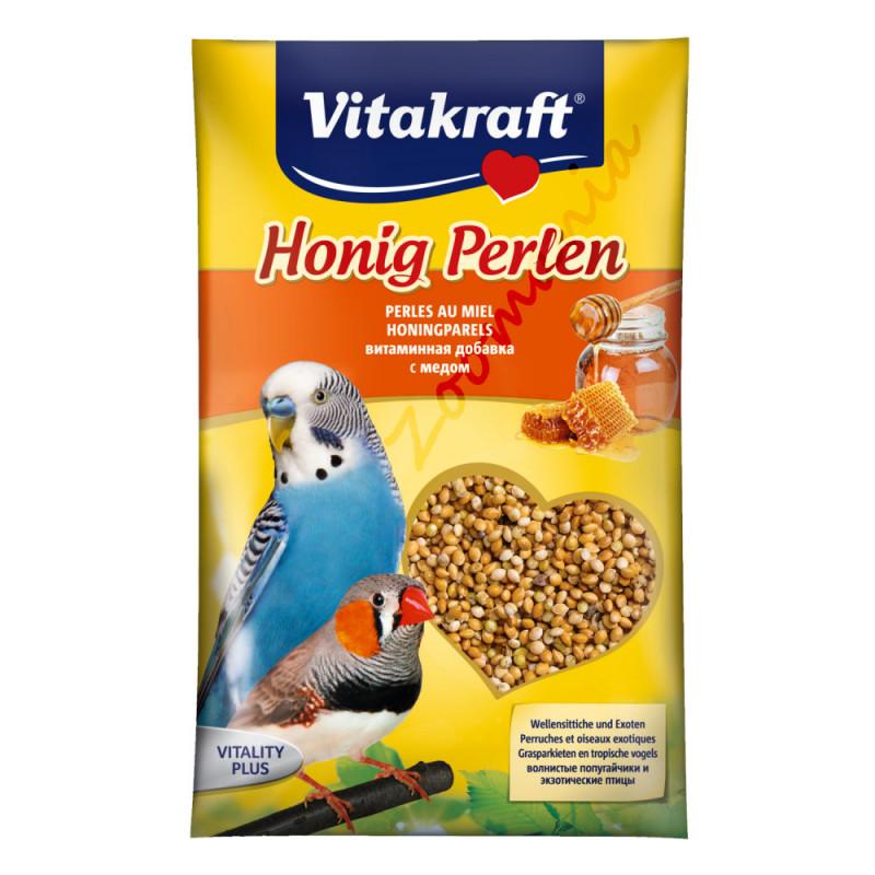 Хранителна добавка с витамини за вълнисти папагалчета и екзотични птички Vitakraft Медени перли - 20гр