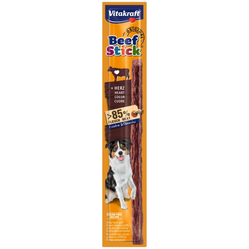 Качествено лакомство за куче с телешки сърца Vitakraft Beef Stick® Original Heart - 1бр. (без пилешко и пилешки субпродукти)