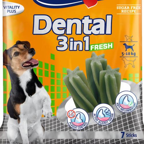 Дентално лакомство за кучета от малки породи Vitakraft Dental 3in1 Fresh S - 7бр.