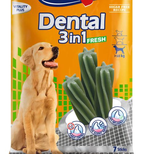 Кучешко лакомство за дентална хигиена Vitakraft Dental 3in1 Fresh M - 7бр.