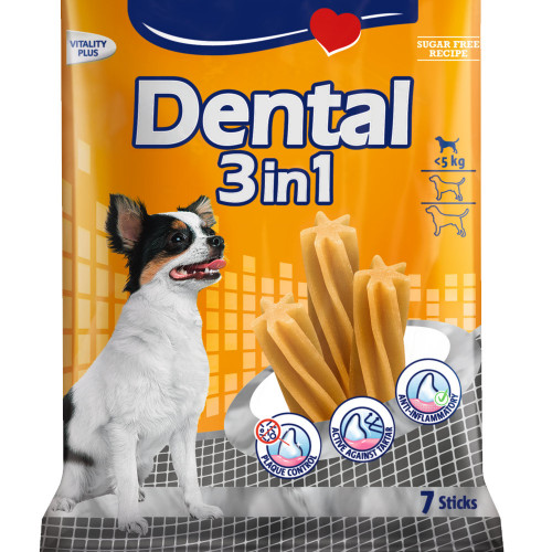 Лакомство за устна хигиена на кучета от мини породи Vitakraft Dental 3in1 XS - 7бр.