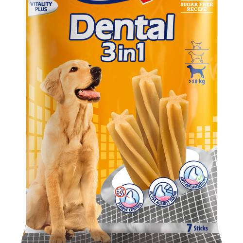Кучешко лакомство за дентална грижа Vitakraft Dental 3in1 M - 7бр.