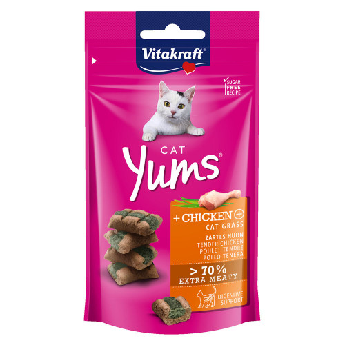 Вкусно и сочно лакомство за котки Vitakraft Cat Yums® меки хапчици с пилешко и котешка трева - 40гр