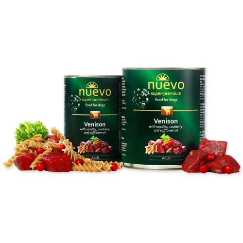 Nuevo Adult Venison & Noodles - консерва за кучета с месо от елен. Супер премиум качество.