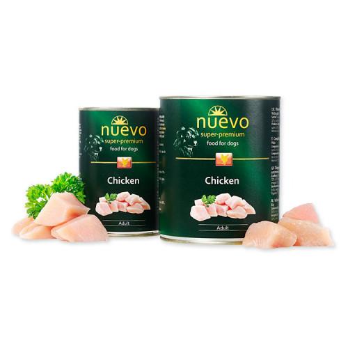 Nuevo Adult Chicken - консерва за кучета с ниско съдържание на мазнини. Супер премиум качество.