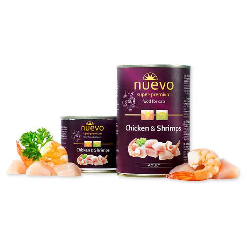 Nuevo Cat Chicken & Shrimps - консерва за котки с пилешко и скариди. Супер премиум качество!