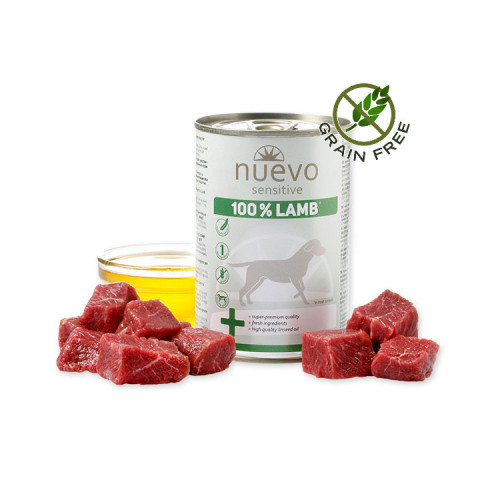 Nuevo Dog Sensitive 100% Lamb - консерва за кучета с агнешко. Монопротеин. Ултра премиум качество!