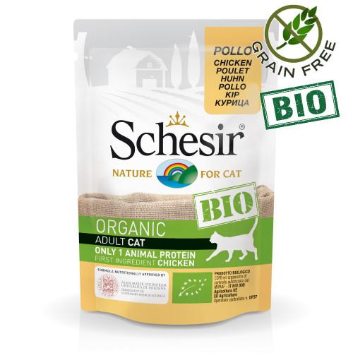 Schesir Cat Bio Chicken - био пауч за котки 100% пилешко. Органична храна с ултра премиум качество!