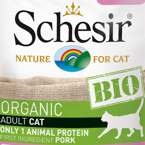 Schesir Cat Bio Pork - пауч за котки 100% свинско. Органична храна с ултра премиум качество!