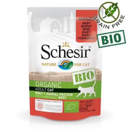 Schesir Cat Bio Beef - пауч за котки 100% говеждо. Органична храна с ултра премиум качество!